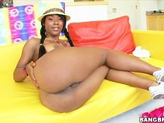 Amateur ebony Megan Vaughn stretched for you