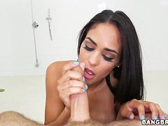 Heavy chested Jazmine does handjob in pov