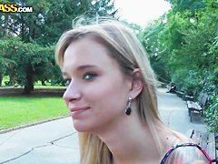 Arousing blonde amateur Beatrice shows her body in public
