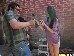 Hot redhead gets her boobs touched in public