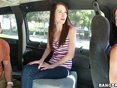 Hot ass brunette Ashley Jade has ride in bang bus