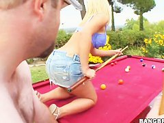 Adorable Jessica Lynn had to strip and suck dude's cock during pool game
